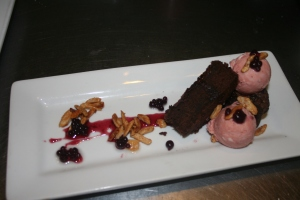 Red Velvet Wine Cake, Winter Rose Semifreddo, Pomegranate Glaze, Rioja Pearls, Toasted Almonds