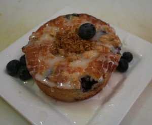 Crème Fraiche Coffee Cake with blueberries and lemon glaze