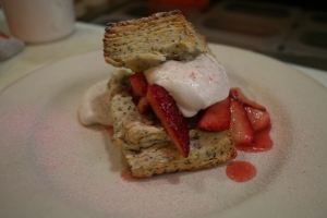 Strawberry Shortcake, poppy seeds and whipped coconut cream